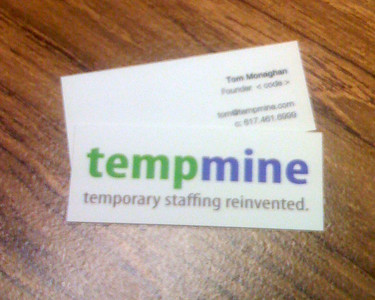 TempMine: our first business cards